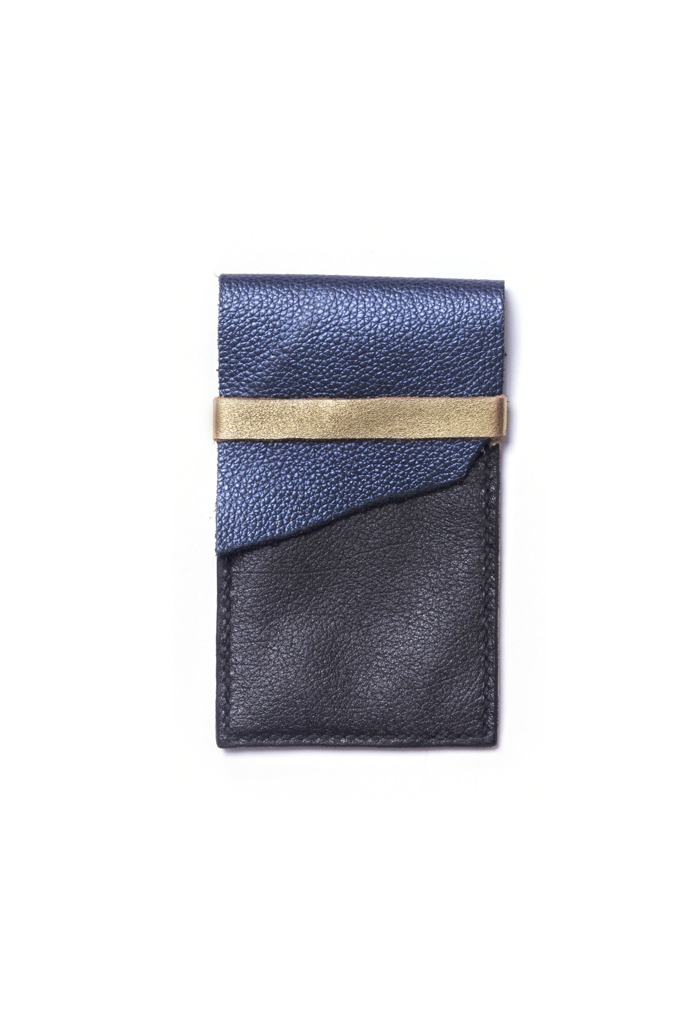 Stella Tricolored Black Metallic Blue Gold Leather Raw iPhone Sleeve by Liana Rosa