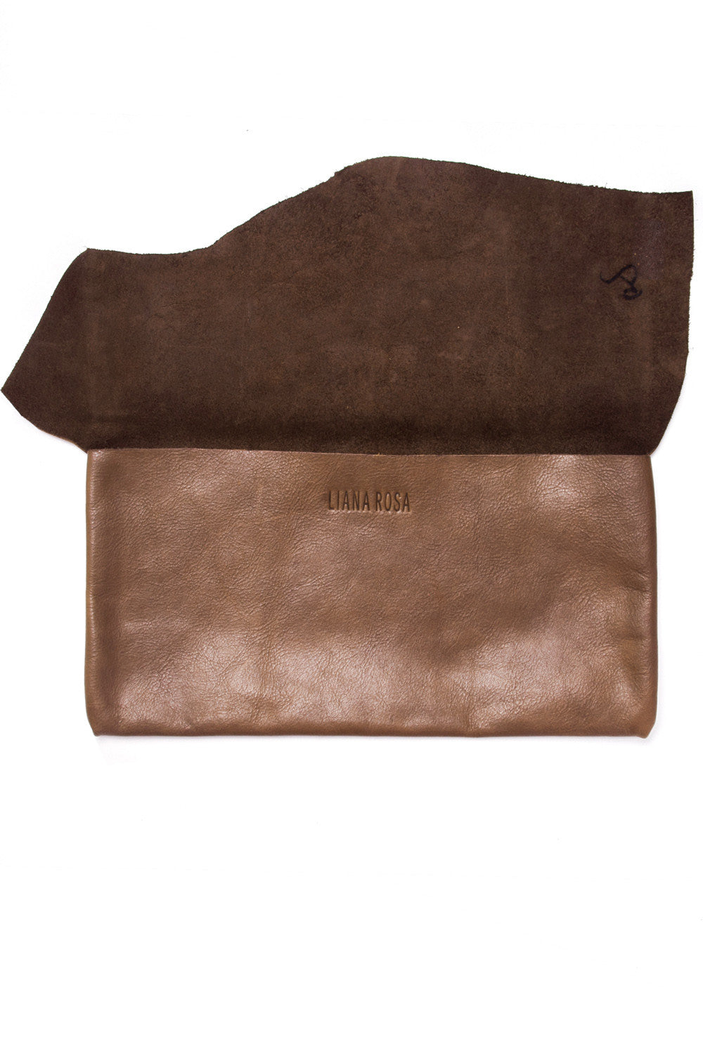 Susi Brown Leather Raw Sling Clutch Open View by Liana Rosa