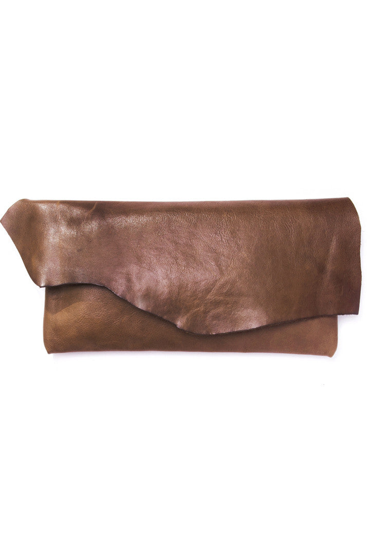 Susi Brown Leather Raw Clutch by Liana Rosa