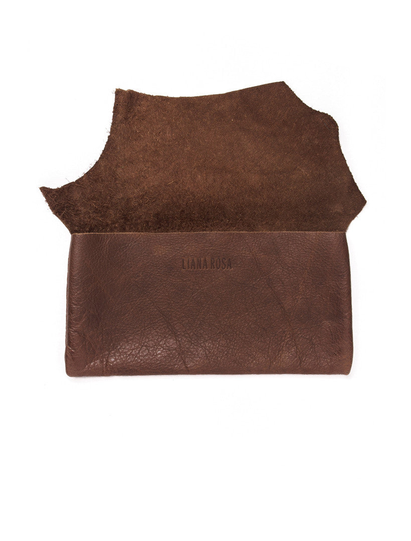 Susi Full Grain Leather Raw Sling Clutch Open View by Liana Rosa