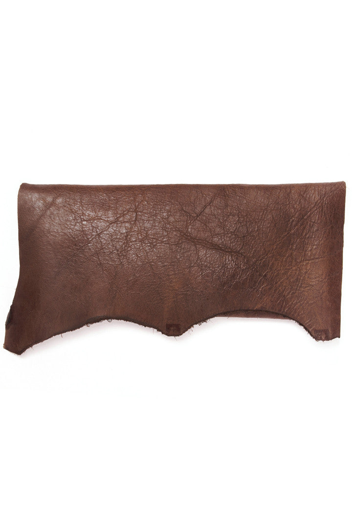 Susi Full Grain Brown Leather Raw Clutch by Liana Rosa