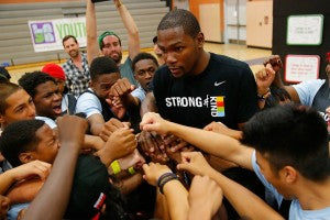 Kevin Durant's visit during an LAYN event at Helen Bernstein High School.
