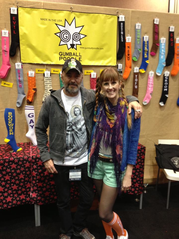 Gumball Poodle boss lady Erica Easley with pal Arturo Vega, Creative Director of The Ramones.