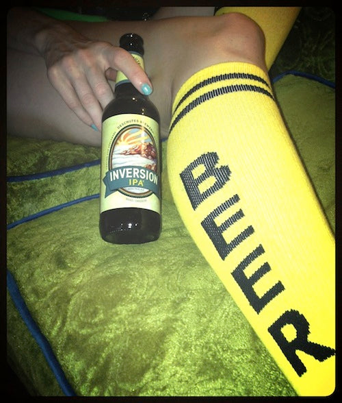 Day One pairing: Deschutes Brewery's Inversion IPA + yellow BEER socks