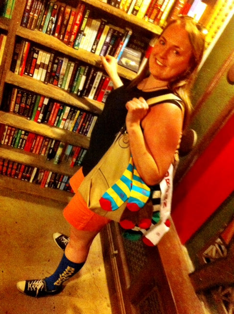 Kk and her sock purse take a trip to The Last Bookstore.