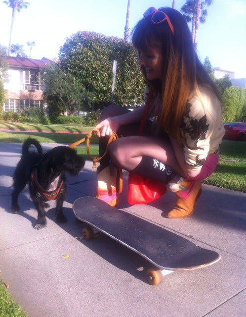 Erica and Owen checking out the skateboard!
