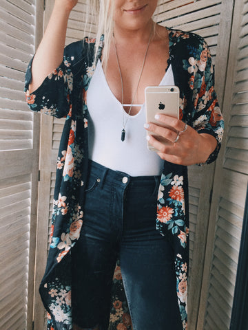 Free People move along bodysuit and floral kimono