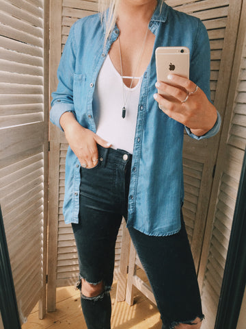 Free People move along bodysuit and denim chambray