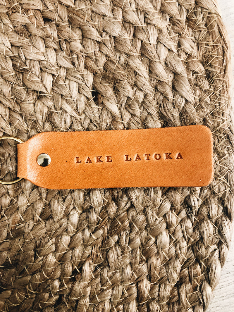 the lakes leather keychain
