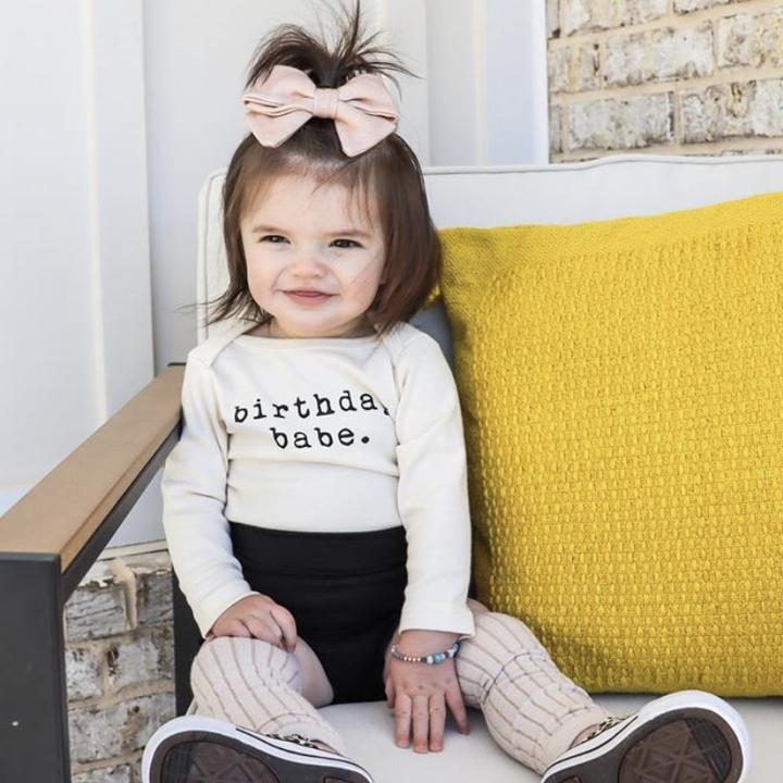 birthday babe long sleeve onesie