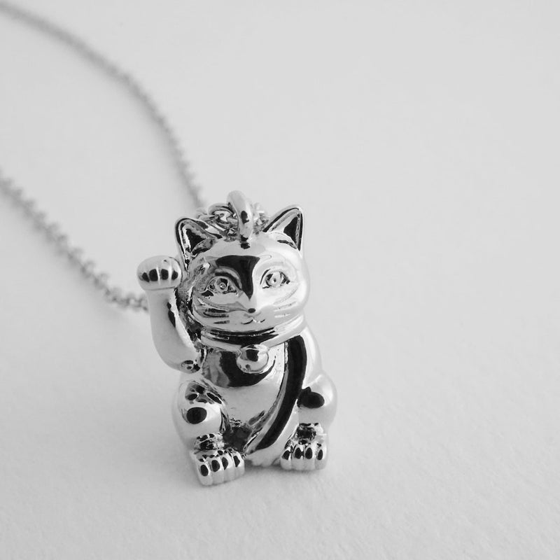 lucky cat charm necklace