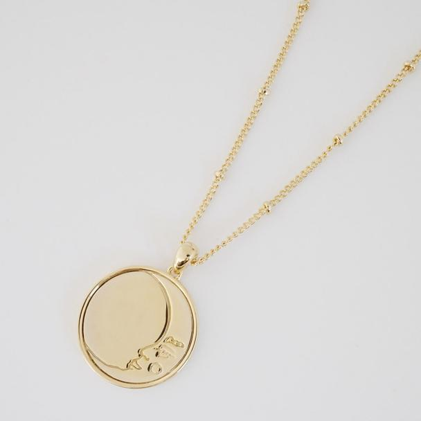 honey cat moon face necklace