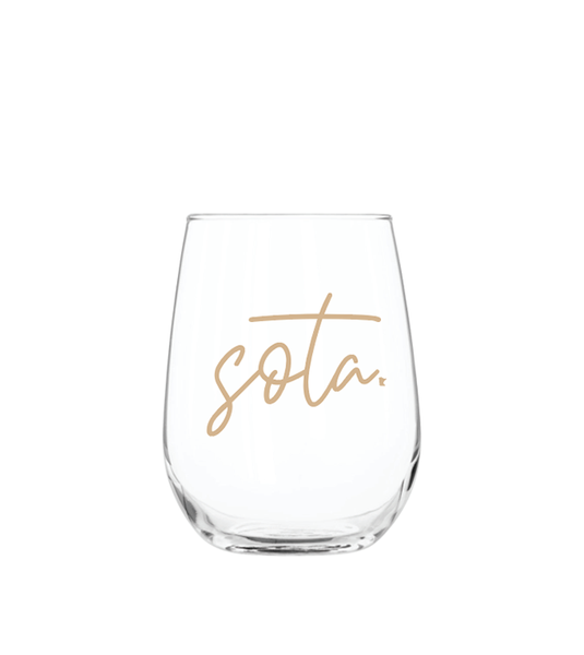 sota stemless wine glass