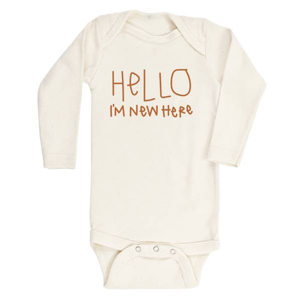 new here long sleeve onesie