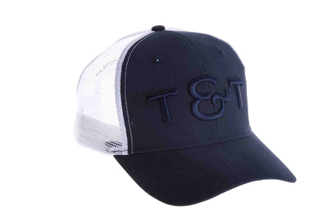 Thomas and Thomas pre curved trucker hat with snapback closure.