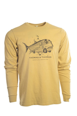 Thomas and Thomas yellow long sleeve GT Bus shirt.