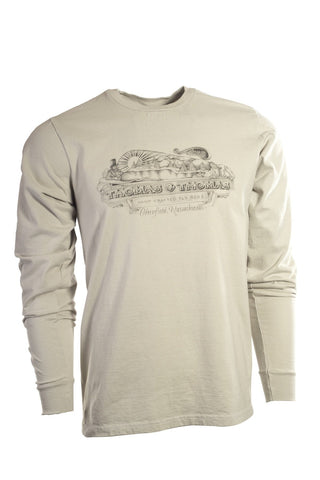 Thomas and Thomas men's vintage Greenfield, MA longsleeve shirt tin cup.