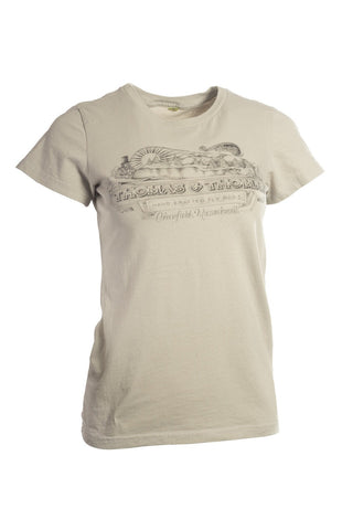 Thomas and Thomas women's vintage Greenfield, MA short sleeve tee tin cup color.