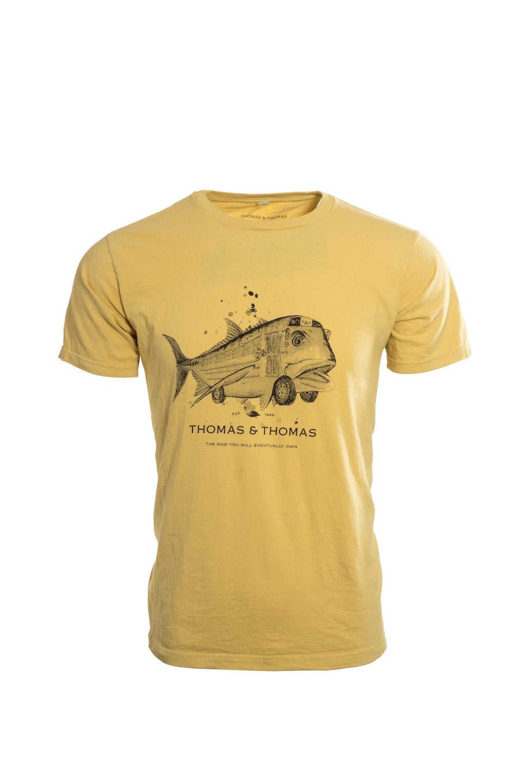 Thomas and Thomas yellow GT Bus tee shirt.