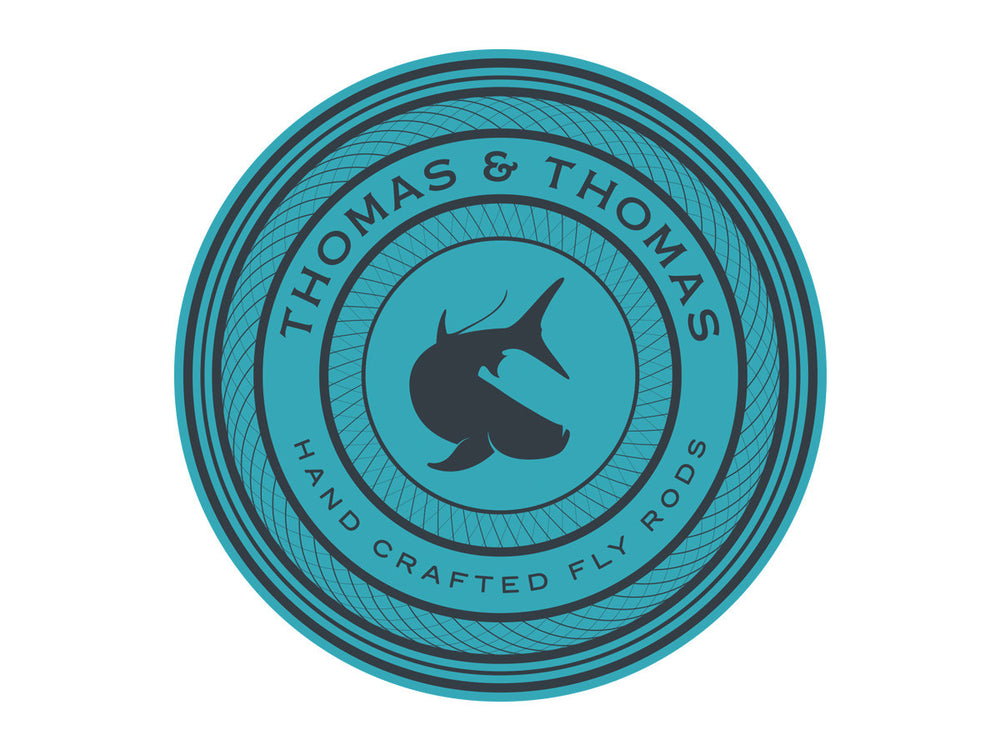 Thomas and Thomas round saltwater tarpon decal.