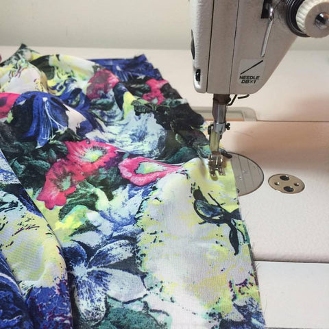 abstract floral print, sewing machine,