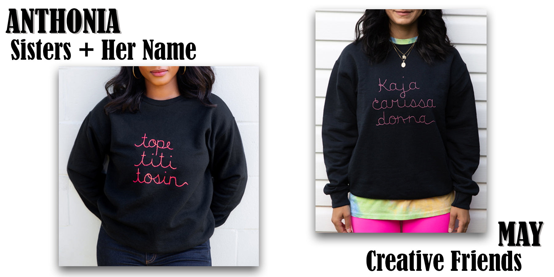 customized femme sweater, choose 3 women who have influenced you and have them stitched on a sweater