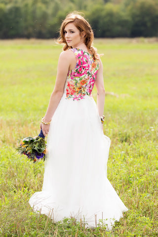 white wedding gown, hot pink floral detailing, handmade in Ottawa