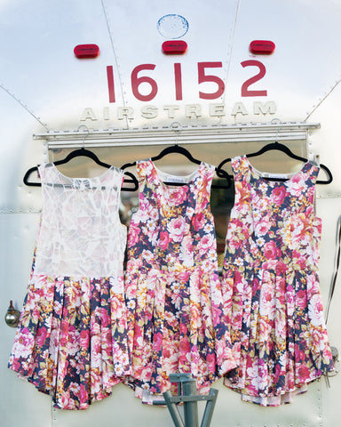 pink floral bridesmaid gowns, handmade in Ottawa