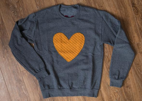 mustard heart eco conscious fall cozy comfortable sweater handmade in Toronto and Ottawa Canada