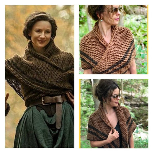 clare clothing inspired by outlander knit shawl