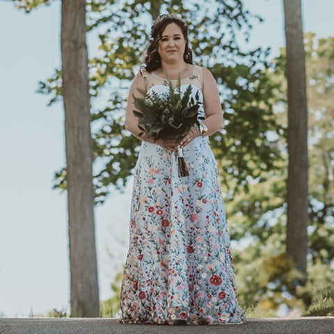alternative bridal gown, floral wedding dress, embroidered floral fabric, handmade in Ottawa