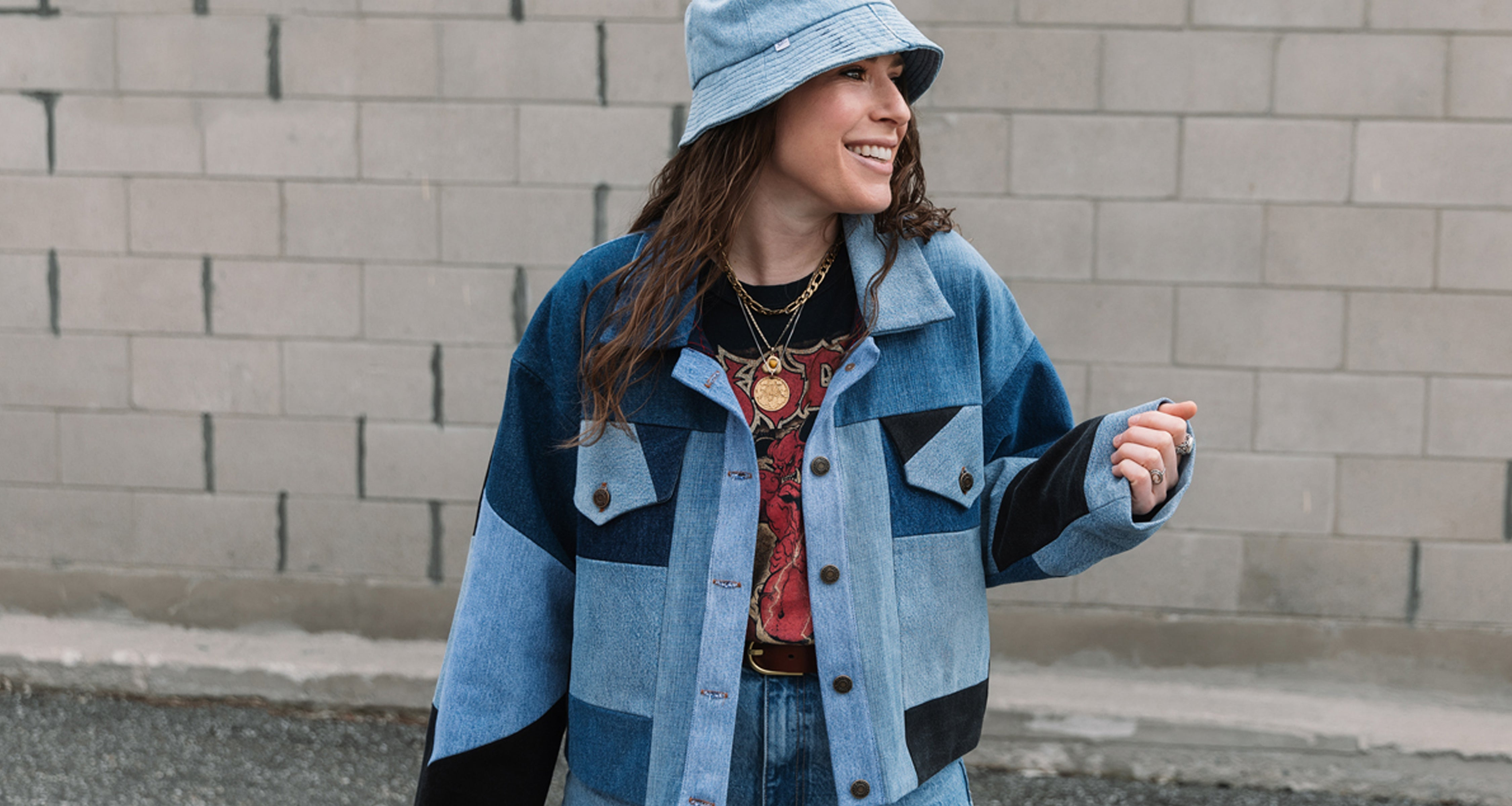 upcycled patchwork denim jacket, reworked jeans