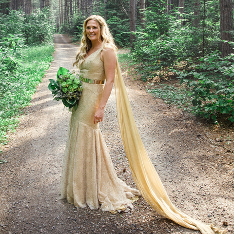 golden wedding gown, alternative bride, unique bridal dress, gold dress, mermaid wedding dress, handmade in Toronto