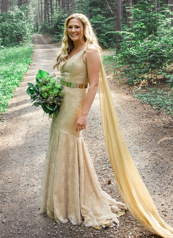 alternative wedding outfit, gold wedding gown, gold sequin and chiffon wedding dress, handmade in Toronto