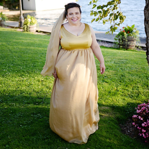 golden chiffon wedding gown, alternative wedding gown, unique bridal dress, golden bride, handmade in Toronto