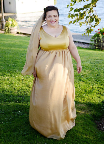gold fit and flare dress, alternative wedding gown, handmade in Toronto, customized wedding dress