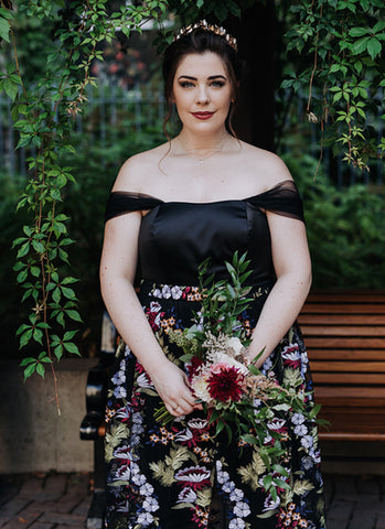 custom wedding dress, black jumpsuit and embroidered skirt, handmade in Ottawa, alternative wedding gown
