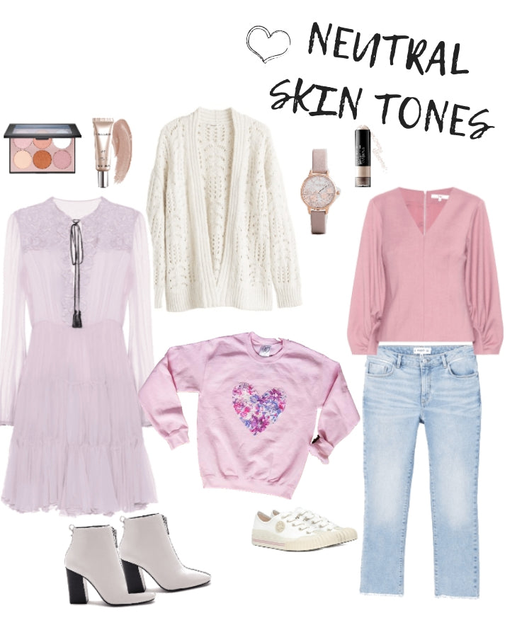 outfit ideas for someone who has neutral skin tones, pastel pinks and neutral clothes