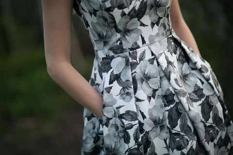 black and white floral print, fit and flare dress, handmade in Toronto