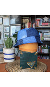 patchwork bucket hat, scraps of jean, quilted, summer hat handmade in Ottawa