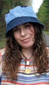 light and dark wash jean, two tone bucket hat, recycled fabric, upcycled hat handmade in Ottawa