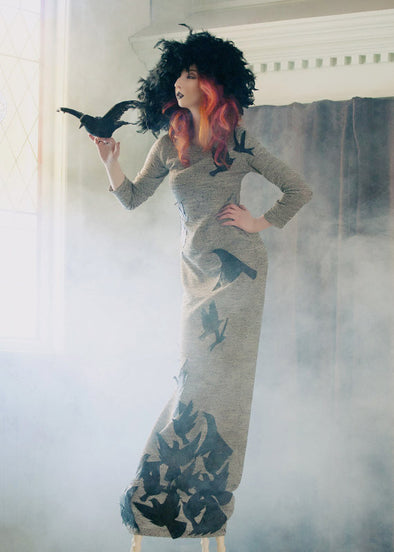light grey stretch dress with faux leather cut out bird appliques, halloween dress handmade in Toronto