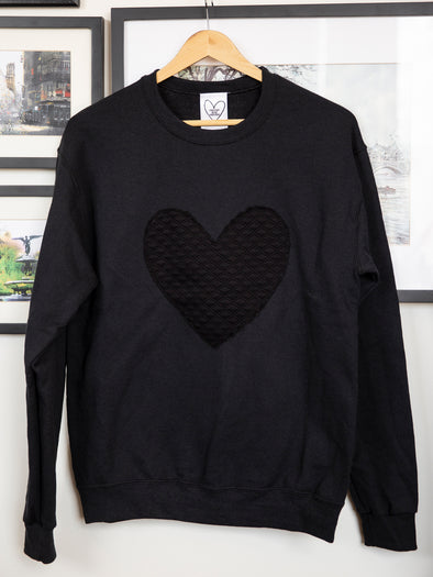 black heart on black sweater, oversized sweater, made in ottawa