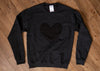 black athletic sweater, with black quilted heart applique, long sleeve, recycled fabric made in canada