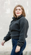 weekend pullover, charcoal grey fuzzy fabric, handmade in Canada