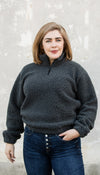 dark grey pullover, zipper detail at neck, fuzzy fabric, handmade in Ottawa