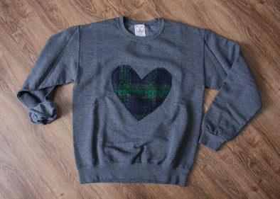 green and navy blackwatch plaid heart, heart sweater, handmade in Ottawa