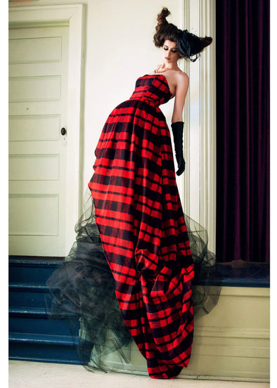 red lumberjack plaid strapless dress with sweetheart neckline, high low hem and black tulle skirt handmade in Toronto