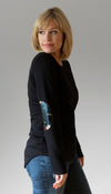 black sweater with floral elbow patches, faux leather patches, long back hem, handmade in Ottawa