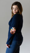 navy fitted sweater with floral elbow patches, faux leather patches, long back hem, handmade in Canada